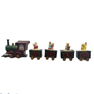 Vtg 5 Pcs Christmas NOEL Santa Train Decoration